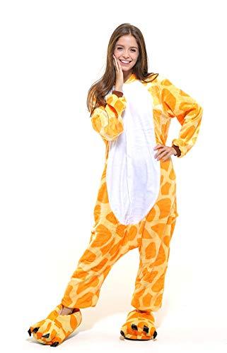 Tier-Kostüm für Erwachsense - Plüsch Einteiler Overall Jumpsuit Pyjama Schlafanzug - Orang/Weiß - Gr. XL ()