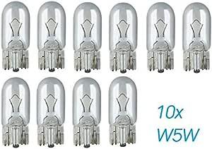 10x Stück W5w T10 12v 5w W2 1x9 5d Kfz Beleuchtung Longlife Glühlampe Glassockellampe Glühbirne Soffitte Autolampen Werkstattware Chiavi Auto