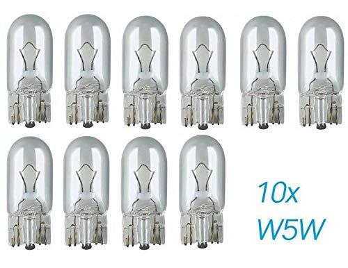 10x Stück - W5W - T10-12V - 5W - W2.1x9.5d - KFZ Beleuchtung - LONGLIFE - Glühlampe Glassockellampe Glühbirne Soffitte Autolampen WERKSTATTWARE/chiavi