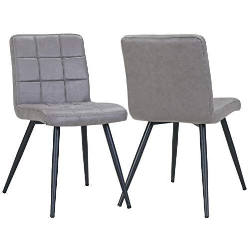 Duhome 2er Set Esszimmerstuhl aus Stoff in Lederoptik Dunkel Grau Farbauswahl Stuhl Retro Design Polsterstuhl mit Rückenlehne Metallbeine 8043B
