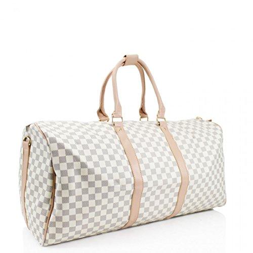 LeahWard® Damen Große Größe Tragetaschen Reise Handtaschen Groß Marke nett Schultertaschen 41412 H35cm x W61cm x D23cm Weiß