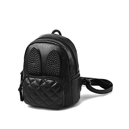 Saint Kaiko PU Leder Wanderrucksäcke Schulrucksäcke Rucksäcke Schulranzen Jungen Schulrucksäcke Jungen Schultasche Zum Reisen oder zur Schule Gehen (weiss) schwarz