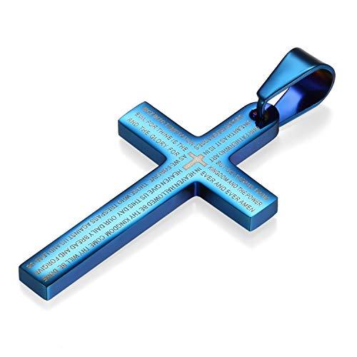 Flongo Herrenkette Männer Anhänger, Edelstahl Anhänger Halskette Blau Kreuz Bibel Lords Prayer Poliert Herren,mit 55cm Kette