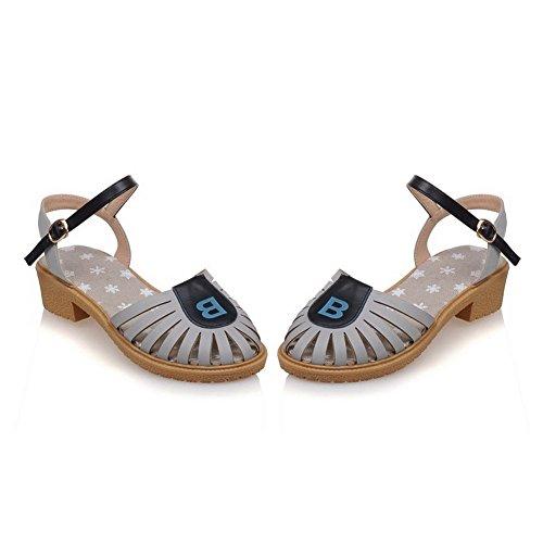 VogueZone009 Damen Gemischte Farbe Schließen Zehe Weiches Material Schnalle Sandalen Grau