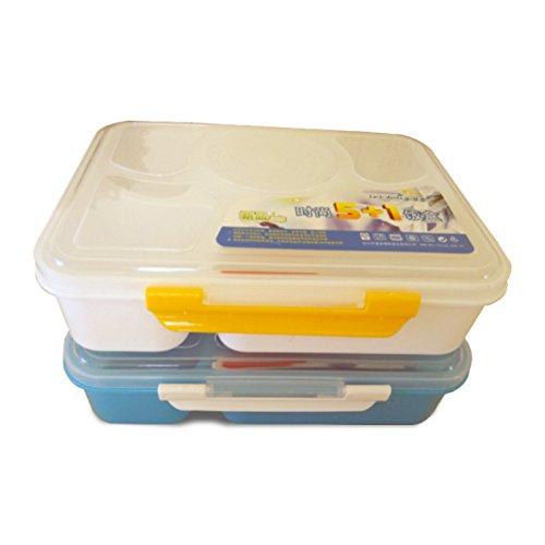 zantec Lunch Box wiederverwendbar Kunststoff Tiefziehteil 5-fach Unterteilung Bento-Box Aufbewahrung mit versiegelten Suppenschüssel Und Löffel blau Batman Metall Lunch-box