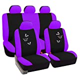 eSituro universal Auto Schonbezug Komplettset Sitzbezüge für Auto mit Butterfly schwarz/lila SCSC0051