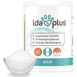 Ida Plus MSM Pulver für Pferde,Ponys, Hunde und Katzen - 600 g - Schwefel - Methylsulfonylmethan - organischer Schwefel in Lebensmittelqualität für Bewegungsfreude - Reinheitsgrad von 99,9%