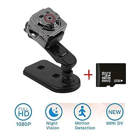 Mini caméra, zzw 1080p HD Caméscope, DV, 12Million Pixels Enregistreur surveillance Camera with Motion Detection and Infrared Night Light + Carte mémoire 8Go