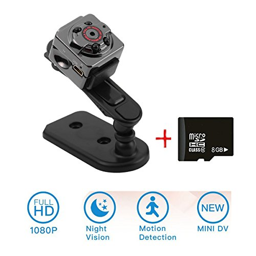 Mini Kamera, emee 1080P HD Camcorder, DV-Recorder, 12 million pixels surveillance camera with motion detection and infrared night light for home security / office / garden / garage + 8GB Speicherkarte