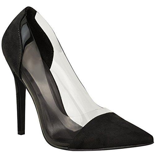Damen Perspex Durchsichtig Stiletto High Heel Sandalen Party Ohne Bügel Tribunaux Größe - Schwarz Kunstwildleder, 37