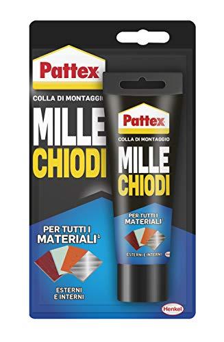 Pattex Millechiodi Esterni & Interni, adesivo extra forte per montaggi esterni, adesivo resistente per legno, ceramica, metallo, con presa immediata, 1x100g blister