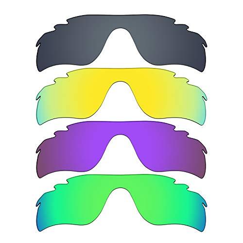 MRY 4Paar Polarisierte Ersatz Gläser für Oakley Radarlock Path belüftet sunglasses-black Iridium/24K Gold/Plasma violett/Smaragd Grün