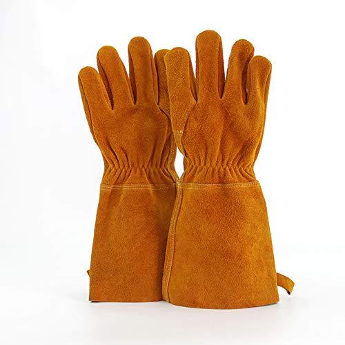 SYR&ST Schweißschutz-Handschuhe Hitzebeständigkeit Arbeitshandschuhe Zum Schweißer,Gartenarbeit,Camping,Herd,Kamin -