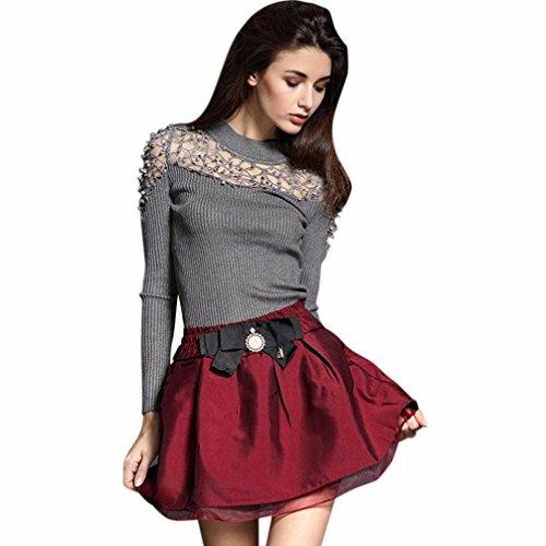 ? Femmes Pull, Ularmo® Tricoter Chandail Svelte Collier Haut Dentelle à Manche Longue Chemise Polo Shirt ?