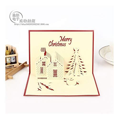 ZHOUBIN 2 fogli/set Carving and Hollowing Out 3D Cards/Greeting Cards/Regali di Natale Capodanno/Auguri di compleanno/Castello di Natale