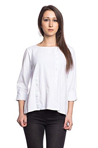 Abbino 89741 Chemisiers Tops Femmes Filles - Fabriqué en Italie - 8 Couleurs - Transition Printemps Été Automne Plaine Chemises Manches Longues Elegante Vintage Casual Moderne - Taille unique Blanc