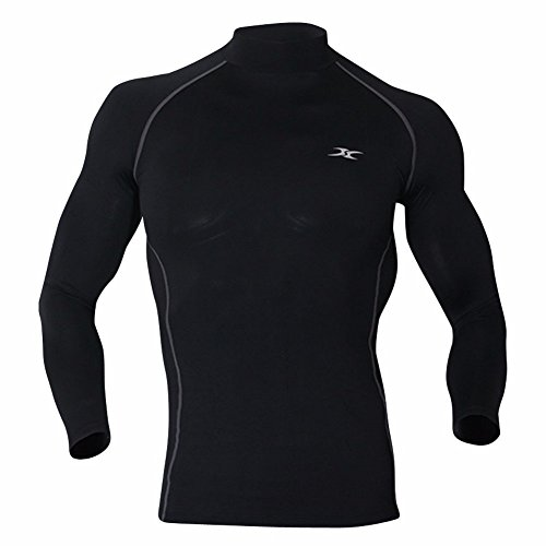 Mock Rollkragen Herren Thermo Unterwäsche Base Layer Kompression, Shirts NLM Gr. X-Large, Schwarz (Base Layer Rollkragen-shirt Mock)