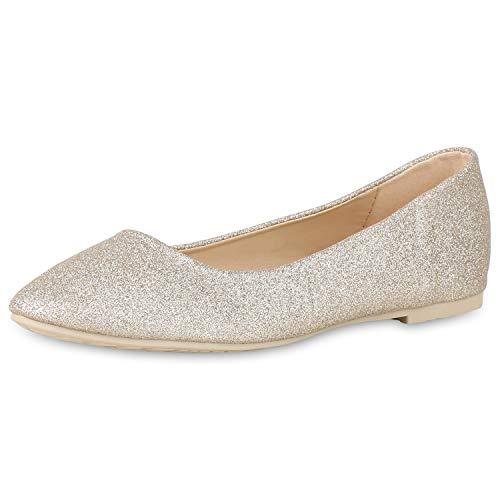 SCARPE VITA Damen Klassische Ballerinas Elegante Slip On Schuhe Lack Slipper Flache Abendschuhe Flats Glitzer 181585 Gold Glitzer 37 - Gold Ballet Flat