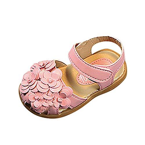 Baby Mädchen Sandalen Geschlossene Babyschuhe Weiche Kleinkind Schuhe mit Klettverschluss Freizeit Niedlich Sommer Blumen Princess Schuhe Anti-Rutsch Trekking Schuhe Hausschuhe für 0-5 Jahre Alt