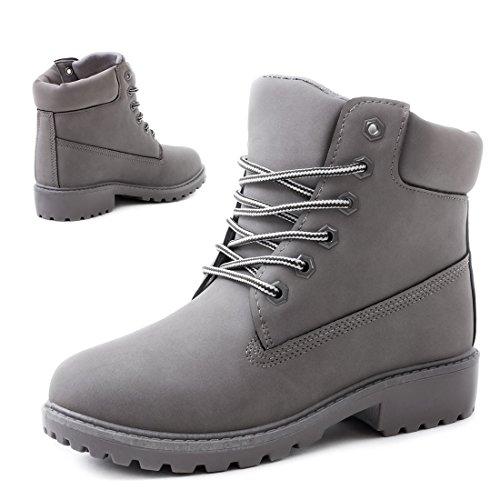 Trendige Unisex Damen Herren Schnür Stiefeletten Stiefel Worker Boots - auch in Übergrößen Grau Chicago