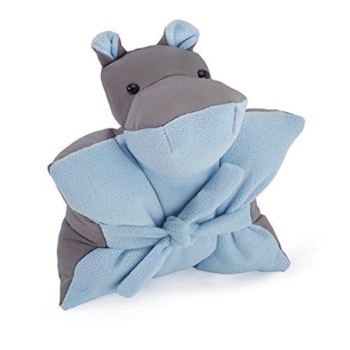 Jelino by JELANI Nilpferd Kuschelkissen Kinderkissen Kuschelfreund Sitzkissen Trostspender Soft-Shell (grau - hellblau, M)