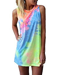 ZANZEA Women's Casual Summer Gradient Slim Sleeveless Tank Vest Tops Beach Mini Dress