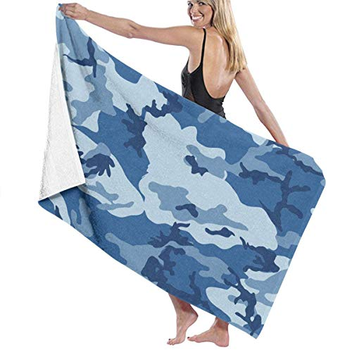 fgregtrg Beach Towels Decor Premium 100% Polyester Fiber Sea Blue Army Camouflage 3D Print Bath Towel by Quick Dry Towel Soft, High Absorbent, Eco-Friendly Printed Bath Towel,Quick Dry 31.5\