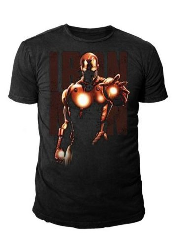 IRON MAN Retro Herren T-Shirt GLOWING HAND AND CHEST Schwarz Gr. S-XL (S) (Guardians Of The Galaxy Tank)