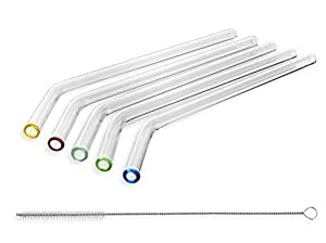 STRAWGRACE Handmade Glass Straws with Colored Tips, Bent - independently tested in DE - Set of 5 with Brush - Glass Drinking Straws, Ideal for Smoothie etc, 23cm x 10mm, Healthy, Reusable, Free of BPA