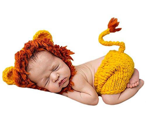 DATO Baby-Fotografie Kleidung Baumwolle gestrickte Neugeborene Kostüme Tier geformt klein Löwe 0-3 Monate (Kleiner Löwe Baby Kostüm)