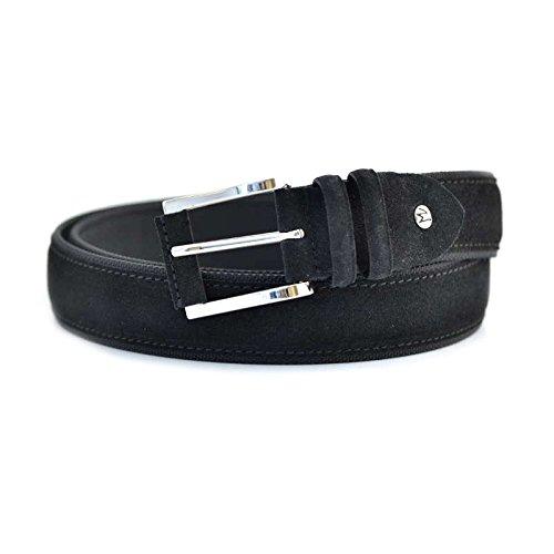 Cintura uomo Fabrizio Mancini tg 110 XXL 4031NERO in pelle e camoscio nero