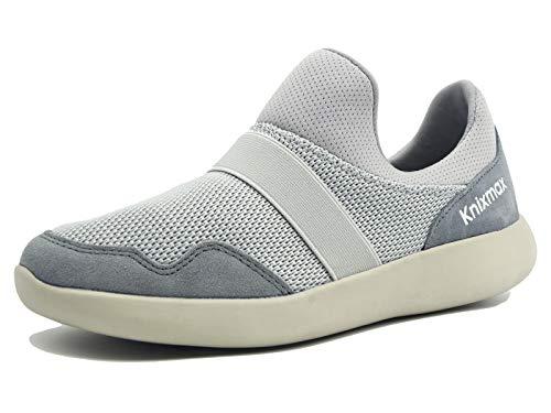 Knixmax-Zapatillas sin Cordones para Mujer, Zapatillas de Deportivo Sneakers Running Zapatillas de Malla Transpirable Zapatos para Correr Gimnasio Athletic, EU38 (UK5) Grey