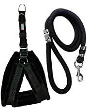 Petshop7 Nylon Dog Harness & Leash Rope Set with Fur 0.75 inch Small - (Chest Size - 25-28) (Black)
