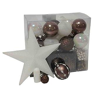 Lote decoración de Navidad – Kit 44 piezas para la decoración del árbol: Guirnaldas, Bolas y Estrella – Color: Blanco y Marrón chocolate