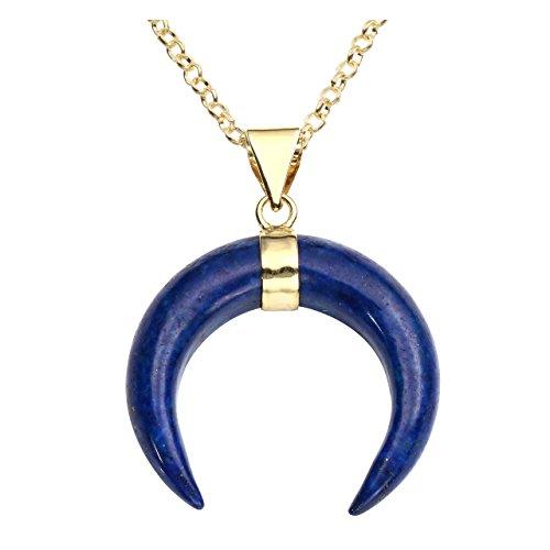 QGEM Damen Schmuck Healing Halskette collier Mond Mondsichel Horn Anhänger chakra Edelstein pendant mit 61cm Kette(Lapis Lazuli)
