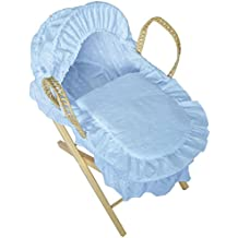 Cuddles Collection Dolls Moses Basket Blue Embroidery Anglaise with Stand
