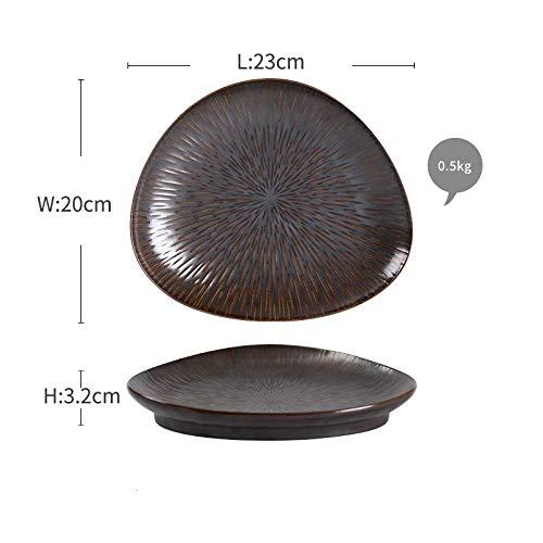 HANLEILE Kreative Oval geformte Keramikgeschirr, Tablett, Suppenteller, Teller Teller, kreative Unregelmäßige Haushalt Platte, 9-Zoll-Dummy Meteor Disc