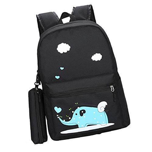 2 En 2 Conjunto Unisex Mochila Bolsa De Escritorio De Dibujos Animados De Animales Elefante Mochila Resistente Al Agua