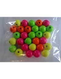 Madera - bolas de neón, colores surtidos, 10mm - 30ST ck ?. Bolas de neón, cuentas de madera, cuentas de madera