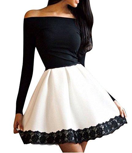 gärmlig Abendkleid Minikleid für Partei Cocktail mit Spitze (Schwarz, L) ()