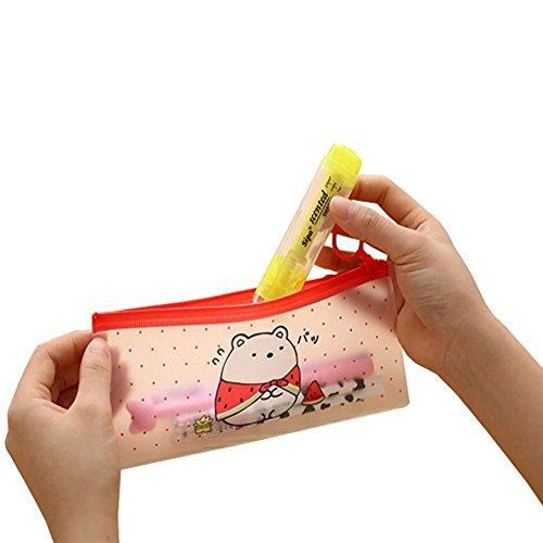 Laat transparent Pencil Bale Student Süße Expression Pen Tasche statioery Aufbewahrungstasche Paket Büro Schulbedarf (rot) (Bill Klappe Große)