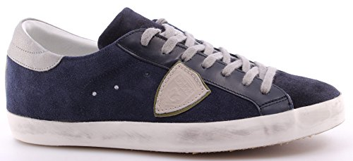 Scarpe Sneakers Uomo PHILIPPE MODEL Classic L U Mixage Blue Sand Made In Italy