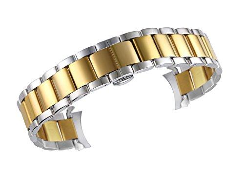 20mm überlegen Ton zwei Uhr Auswechselbügel Edelstahl 316l Link in Silber und Gold Auster Stil