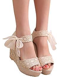 Sandalias de Mujer, ❤️ Ba Zha HeiMujer Verano Dulce Encaje Arco Floral Sandalias con Cuña Peep Toe Cabeza Pescado Zapatos De Tacón Alto Chancletas Zapatillas Sandalias Romanas de Mujer