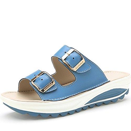 Confortevole Pattini di cuoio esterni esterni di estate Pattini di spessore dei sandali Antiscivolo con i pattini piani (4 colori facoltativi) (formato facoltativo) È aumentato ( Colore : B , dimensio C