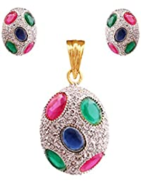 Terramart_ Zircon Stone Pendent Set_Fashion Jewellery For Women / Girls ( White, Pink, Green, Blue & Gold )