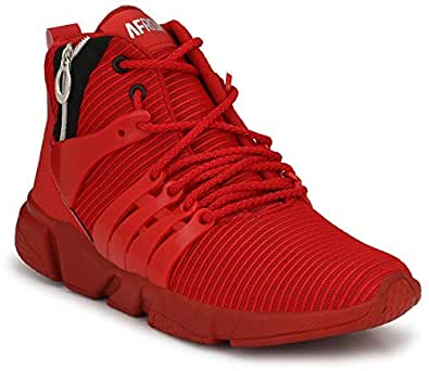 AFROJACK Men's Sports Mesh Light Weight Casual Shoes Red