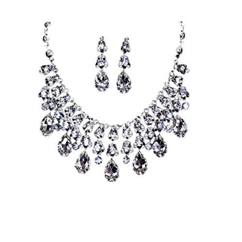 Legierung Halskette mit Ohrringe Collier Kette Schmuckset Brautschmuck Hochzeit
