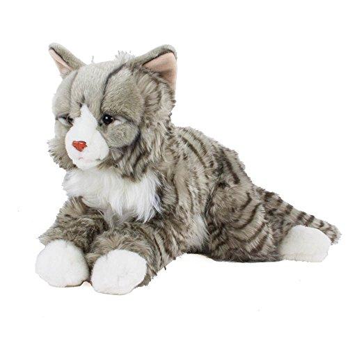 Teddys Rothenburg Kuscheltier Main Coon norwegische Katze liegend grau getigert 38cm Plüschkatze