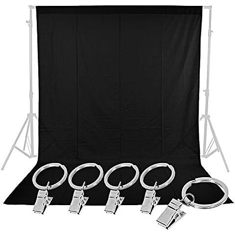 Neewer® Studio Fotografico 1,8x 2,7m/1.8x 2.8m pura mussola sfondo pieghevole, con 5morsetti a molla per Fotografia, Video e Televisione (Nero) - Mussola Fine